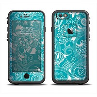 The Turquoise Fancy White Floral Design Apple iPhone 6/6s Plus LifeProof Fre Case Skin Set
