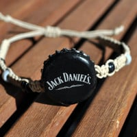 Black and Grey Jack Daniels Recycled Beer Cap Hemp Adjustable Bracelet - beach, surfer accessory, unique jewelry