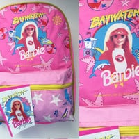 90s Barbie Backpack Vintage Hot Pink Barbie Baywatch Bag Bookbag