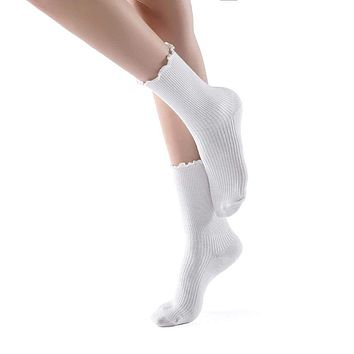 Princess Lulu Ruffle Crew Sock | White