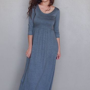 Stay In Style Charcoal Grey Long Sleeve Maxi Dress