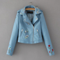 Fashion Floral embroidery leather lapel jacket lady's jacket (5 color)