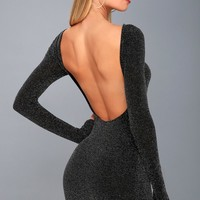 Gift of Love Black and Silver Backless Long Sleeve Bodycon Dress