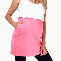 Pink White Colorblock Maternity Tank