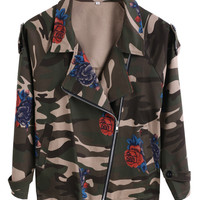 Army Green Rose Print Camouflage Long Sleeve Jacket