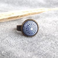 Navy Blue Ring Navy Blue Etched Ring Mosaic Jewelry Geometric Jewelry Navy Blue And White Gift For Her