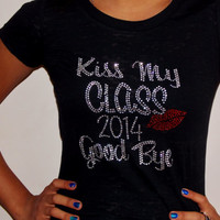 Class Of 2014 Shirt. Graduation Shirt. Rhinestone Burnout Shirt. Choose Size And Color.