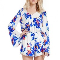 Abstract Floral Romper With Button Closure