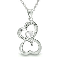 Infinity United Hearts Linked Forever Amulet White Cats Eye Pendant 22 Inch Necklace