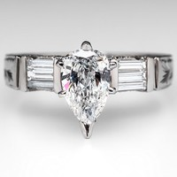 Pear Cut Diamond Engagement Ring w/ Etched Shank Platinum