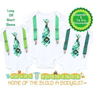St Patricks Day Shirts for Baby Boys Clover Tie with Suspenders