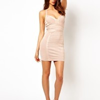 Lipsy Glitter Bandage Bodycon Dress with Plunge Neck