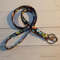 Skinny foxes Lanyard  ID Badge Holder -  Lobster clasp and key ring New Thinner Design - fox lanyard
