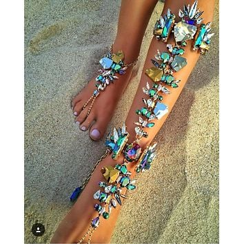 Green Fashion Ankle Bracelet Wedding Barefoot Sandals Beach Foot Jewelry Sexy Pie Leg Chain Female Boho Crystal Anklet 00