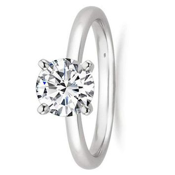 .1/2 - 2 Carat GIA Certified 18K White Gold Solitaire Round Cut Diamond Engagement Ring (I-J Color, VS1-VS2 Clarity)