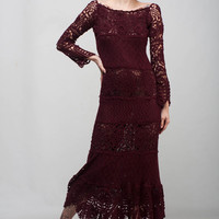 Marsala Formal dress burgundy lace dress maxi long sleeve dress Crochet lacy dress maroon off shoulder dress Crochet evening floor gown