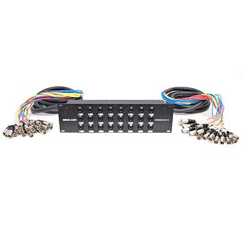 Seismic Audio - SARMSS-24x1515 - 24 Channel XLR TRS Combo Splitter Snake Cable - two 15' XLR trunks Rack Mount