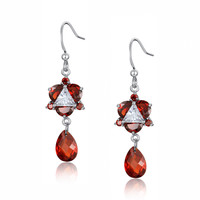Triangle and Teardrop Cubic Zirconia Earrings (Red)
