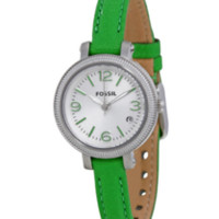 FOSSIL® Green Leather Strap Ladies Watch