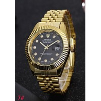 Rolex Fashion Women Men Casual Business Sport Movement Watch Lovers Wrist Watch Golden Watchband Black Dial I-YY-ZT