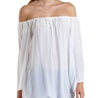 Ivory Lace-Trim Off-the-Shoulder Top by Charlotte Russe