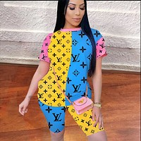 Onewel Louis Vuitton LV New women's fashion printing stitching two-piece set Blue Pink Yellow