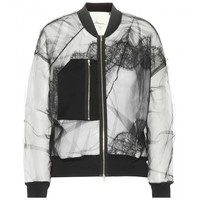 Lace and mesh bomber jacket