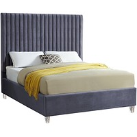 Candace Grey Velvet Full Bed