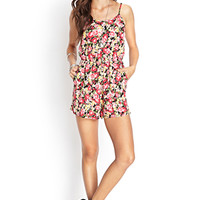 FOREVER 21 Soft Woven Floral Romper Black/Red Medium