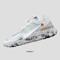 """Off white x Nike Upcoming React Element 87 """"OW White"""" Running Shoes AQ0068-100"""