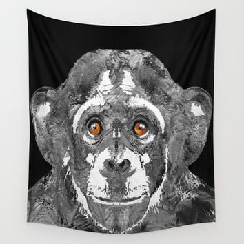 Black And White Art - Monkey Business 2 - By Sharon Cummings Wall Tapestry by Sharon Cummings