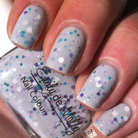 """Nail polish - """"Harmony"""" white, turquoise, and purple glitter in a light grey base"""
