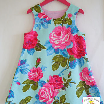 Girls dress, pink, turquoise roses, florals, girls clothing, aline, pinafore, tunic, 100% cotton, girl, baby, toddler, size 6m to 8 years