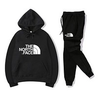 The North Face Women Men Fashion Casual Letter Pattern Print Long Sleeve Trousers Set Two-Piece Sportswear black/black,