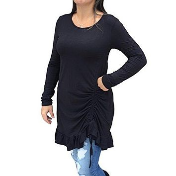 12pm by Mon Ami Women's Casual Long Sleeve Knit Ruffled Tunic with Drawstring