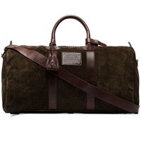 Brown Suede and Leather Holdall Bag by Ralph Lauren