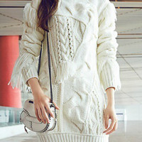 White Fringed Long Sleeve Knitted Sweater