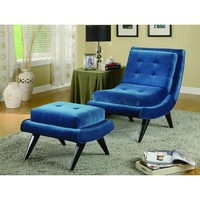 Armen Living 5Th Avenue Armless Swayback Lounge Chair In Cerulean Blue Fabric