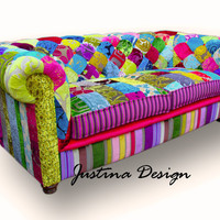 Patchwork Chesterfield Sofa hand made in England by JustinaDesign