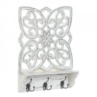 Distressed White Floral Wall Shelf