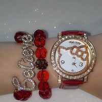 Red Hello Kitty inspirational bracelets (in gift box)