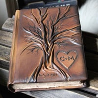 Custom leather wedding guest book Tree of life  Bridal Shower Anniversary Engagement with heart and initials
