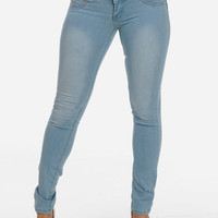 Cheap Trendy Light Wash Butt Lifting Skinny Jeans in Jeans