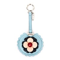 Fendi Blossom Blue Calf Leather Key Charm Luxury Keychain