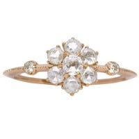 Rose Gold Rose Cut Diamond Cluster Ring - Rings - Jewelry
