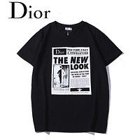 DIOR 2018 new men's retro newspaper and magazine print round neck short-sleeved T-shirt black
