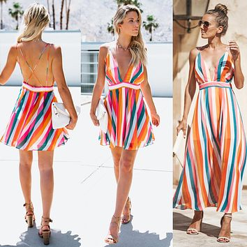 Sexy Colorful Striped Backless Dress