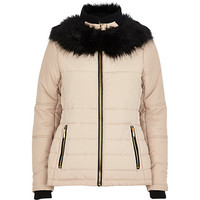 River Island Womens Cream faux fur collar padded jacket