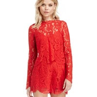 Red Long Sleeve Backless Layered Lace Romper