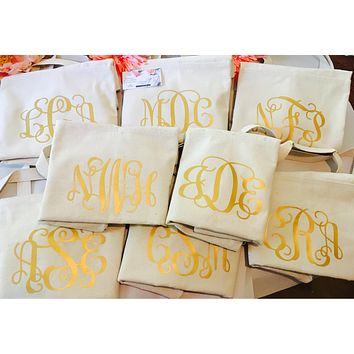 Monogram Tote Bag Sets, Bride Thank you gifts